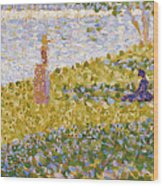 Women On The River Bank Wood Print by Georges Pierre Seurat
