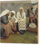 Women Outside The Church - Finland Wood Print