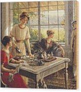 Women Taking Tea Wood Print