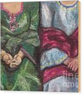 Women Wearing Shawls II Wood Print