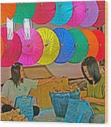 Women Working Together At Borsang Umbrella And Paper Factory In Chiang Mai-thailand Wood Print