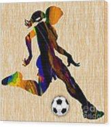 Women's Soccer Wood Print