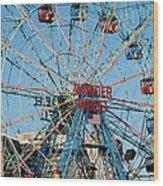 Wonder Wheel Of Coney Island Wood Print