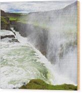 Wonderful Waterfall Gullfoss In South Iceland Wood Print