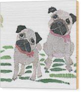 Pug Art Hand-torn Newspaper Collage Art By Keiko Suzuki Bless Hue Wood Print