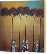 Wonderland Tea Party Wood Print