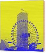Wonderwheel In Blue And Yellow Wood Print