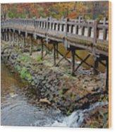 Wood Bridge And Autumn Color Wood Print