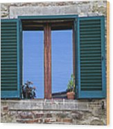 Wood Brown Window With Green Shutters Of Tuscany Wood Print