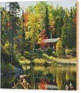 Wood Cabin By The Lake Wood Print