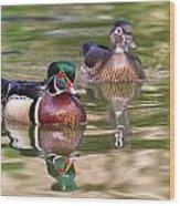 Wood Duck Pair Wood Print