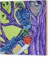 Wood Duck Tree Wood Print