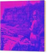 Wood Nymph In Pink And Blue Wood Print