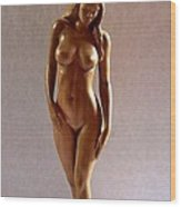 Wood Sculpture Of Naked Woman - Front View Wood Print by Ronald Osborne