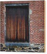 Wood Window Brick Wall Wood Print