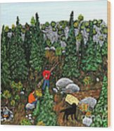 Woodcutters And Black Lab Wood Print