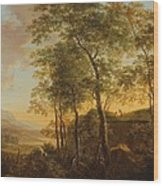 Wooded Hillside With A Vista Wood Print
