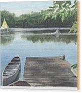 Wooded Lake Watercolor Portrait Wood Print