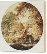 Wooded Landscape With A Cottage Beside A Bridge Wood Print