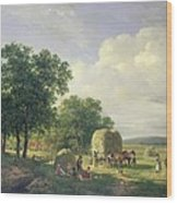 Wooded Landscape With Haymakers Wood Print