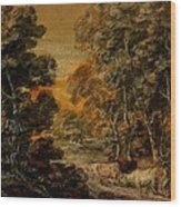 Wooded Landscape With Herdsman And Cattle Wood Print