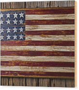Wooden American Flag On Wood Wall Wood Print