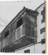 wooden balcony on ancient stucco covered traditional flat roofed house in tacoronte Tenerife Canary Islands Spain Wood Print