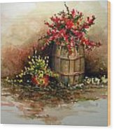 Wooden Barrel With Flowers Wood Print