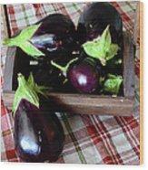 Wooden Basket Of Eggplant Wood Print