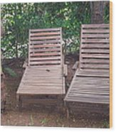 Wooden Beach Chairs Wood Print