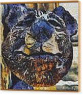 Wooden Bear Sculpture Wood Print by Barbara Snyder