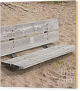 Wooden Bench Burried In The Sand Wood Print