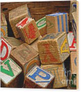 Wooden Blocks With Alphabet Letters Wood Print by Amy Cicconi