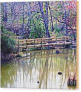Wooden Bridge Over Pond Wood Print