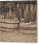 Wooden Buckets Wood Print