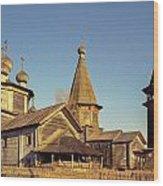 Wooden Church Complex. Old Film Camera. Wood Print