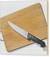 Wooden Cutting Board With Kitchen Knife Wood Print