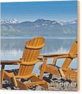 Wooden Deckchairs Overlooking Scenic Lake Laberge Wood Print
