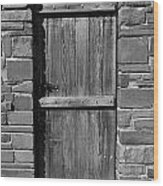 Wooden Door And Stone Wall 1 Wood Print