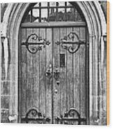 Wooden Door At Tower Hill Bw Wood Print by Christi Kraft