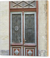 Wooden Door With Glass And Decoration Wood Print