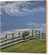 Wooden Farm Fence On Crest Of A Hill Wood Print