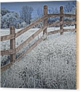 Wooden Fence Of A Friesian Horse Pasture On Windmill Island Wood Print