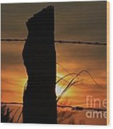 Wooden Fence Post Sunset Wood Print