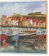 Wooden Fishing Boats In The Whitby Fleet Of Northern England Wood Print