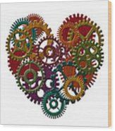 Wooden Gears Forming Heart Shape Illustration Wood Print