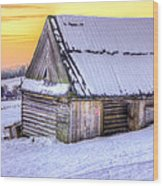 Wooden Hut In Sunset Wood Print