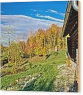 Wooden Lodge In Autumn Mountain Nature Wood Print