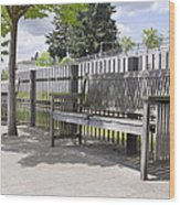 Wooden Park Benches Wood Print