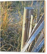 Wooden Post And Fence At The Beach Wood Print